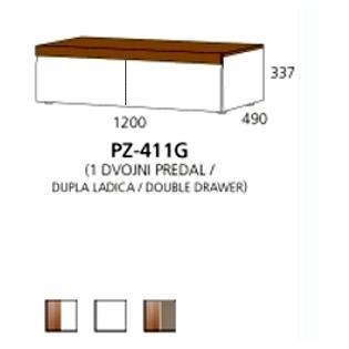 PZ-411G niski element - 1 dupla ladica PRIZMA