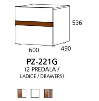 PZ-221G niski element - 2 ladice PRIZMA