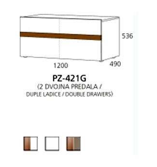 PZ-421G niski element - 2 duple ladice PRIZMA