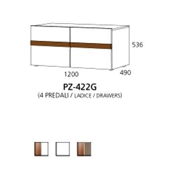 PZ-422G niski element - 4 ladice PRIZMA