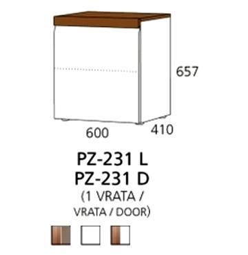 PZ-231 (L/D) niski element - 1 vrata PRIZMA