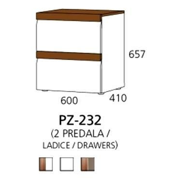 PZ-232 niski element - 2 ladice PRIZMA
