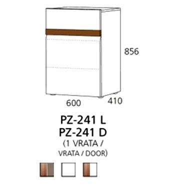 PZ-241 (L/D) niski element - 1 vrata PRIZMA