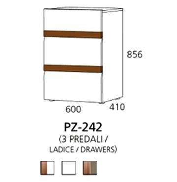 PZ-242 niski element - 3 ladice PRIZMA