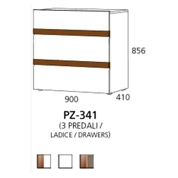 PZ-341 niski element - 3 ladice PRIZMA