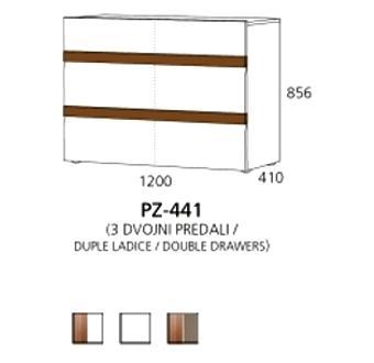 PZ-441 niski element - 3 duple ladice PRIZMA