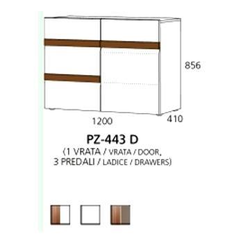 PZ-443 (L/D) niski element - 1 vrata,3 ladice PRIZMA