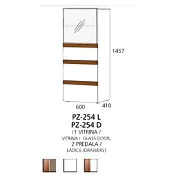 PZ-254 (L/D) srednji element - 1 vitrina, 2 ladice PRIZMA