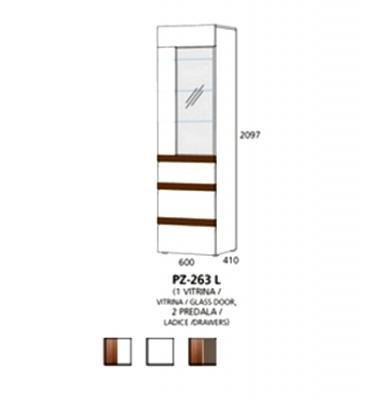 PZ-263 (L/D) visoki element - 1 vitrina, 2 ladice PRIZMA