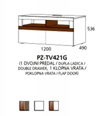 PZ-TV421G TV element - 1 dupla ladica, 1 poklopna vrata PRIZMA