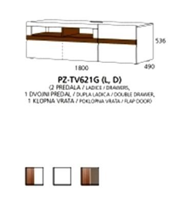 PZ-TV621G (L/D) TV element - 2 ladice, 1 dupla ladica, 1 poklopna vrata PRIZMA